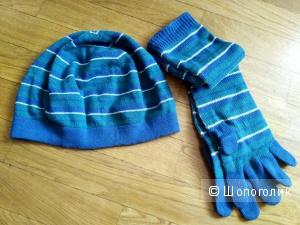 Комплект Benetton: берет и длинные перчатки, на ог - 54-56