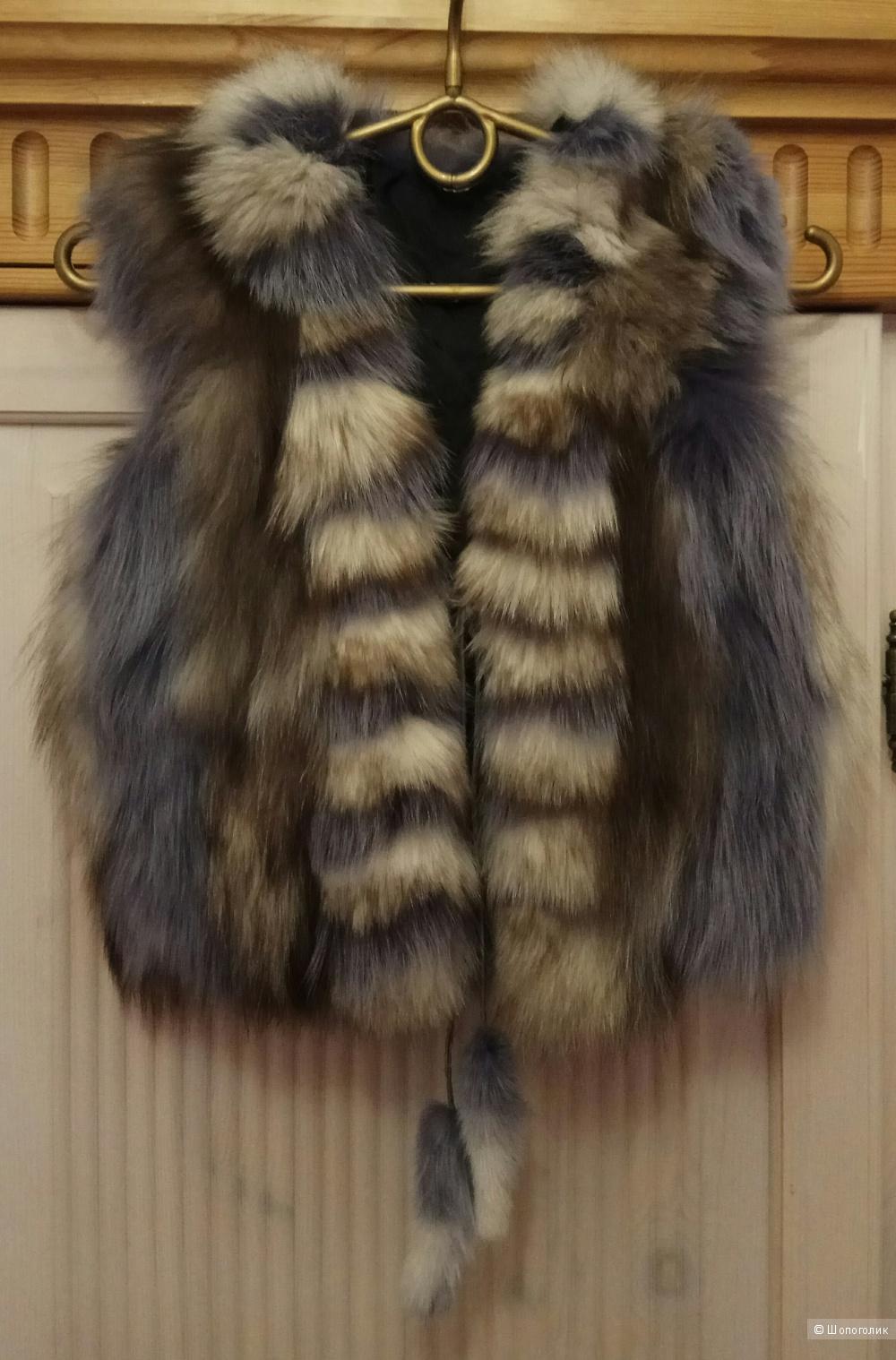 Детский меховой  жилет из чернобурки,Fur Natural,5-11 лет