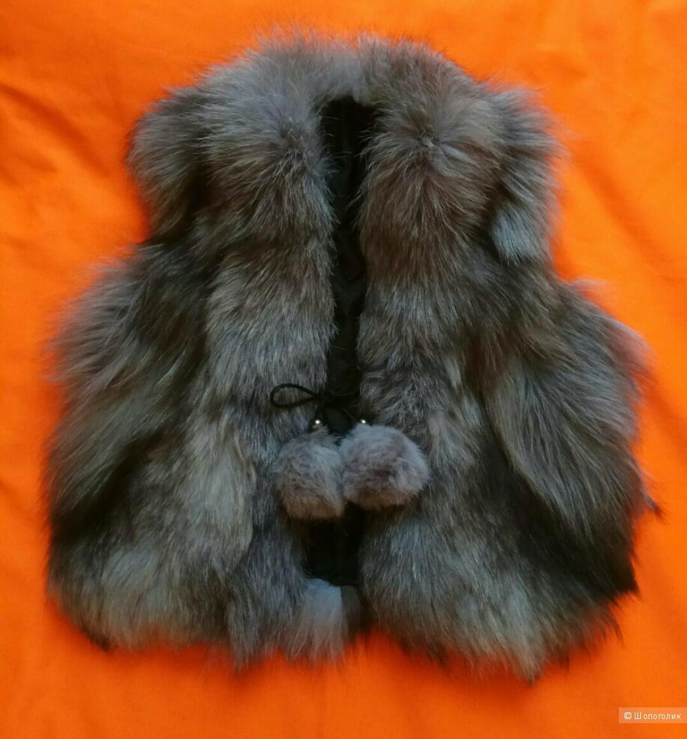Меховой жилет из чернобурки,Fur Natural,детский,5-11