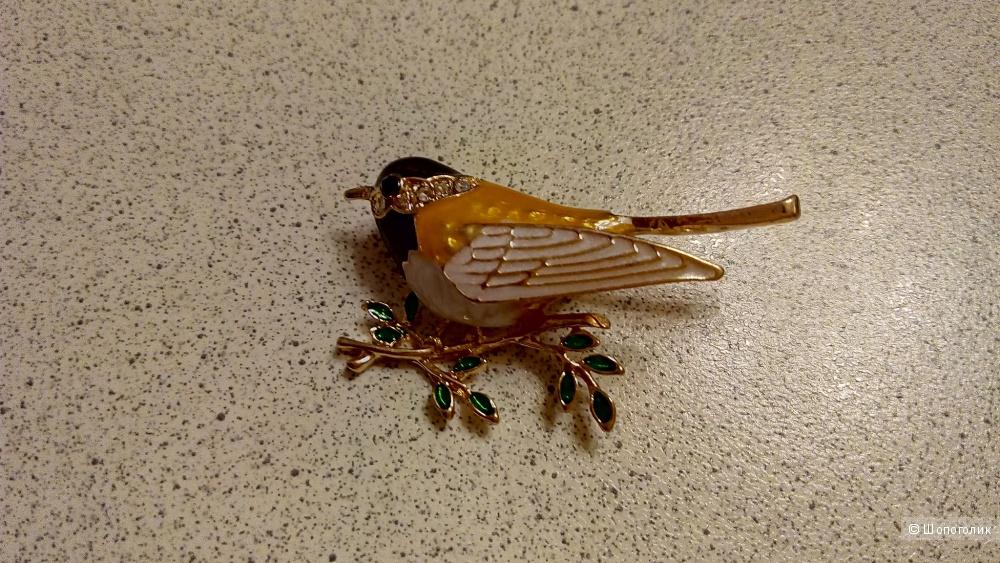 Брошь птичка-синичка, 5 х 3 см.