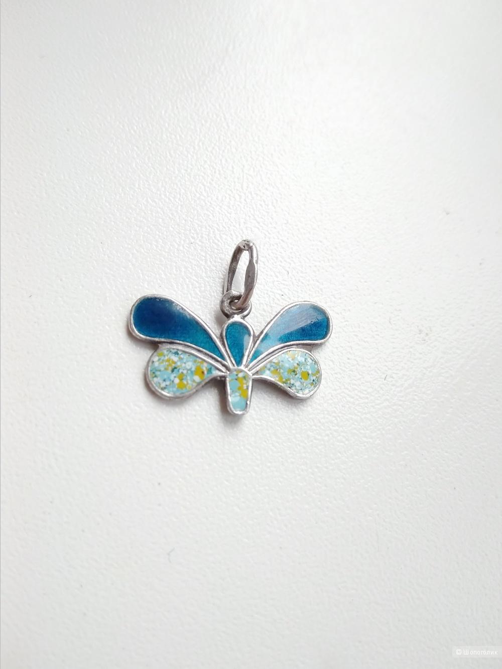 Подвеска бабочка серебро 875 эмаль винтаж