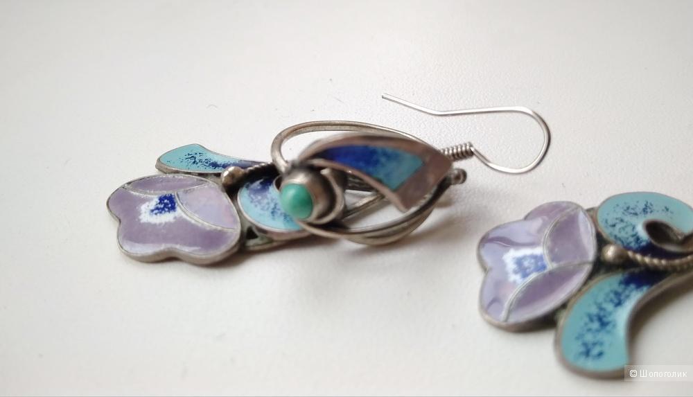 Комплект серьги и кольцо мельхиор эмаль бирюза винтаж