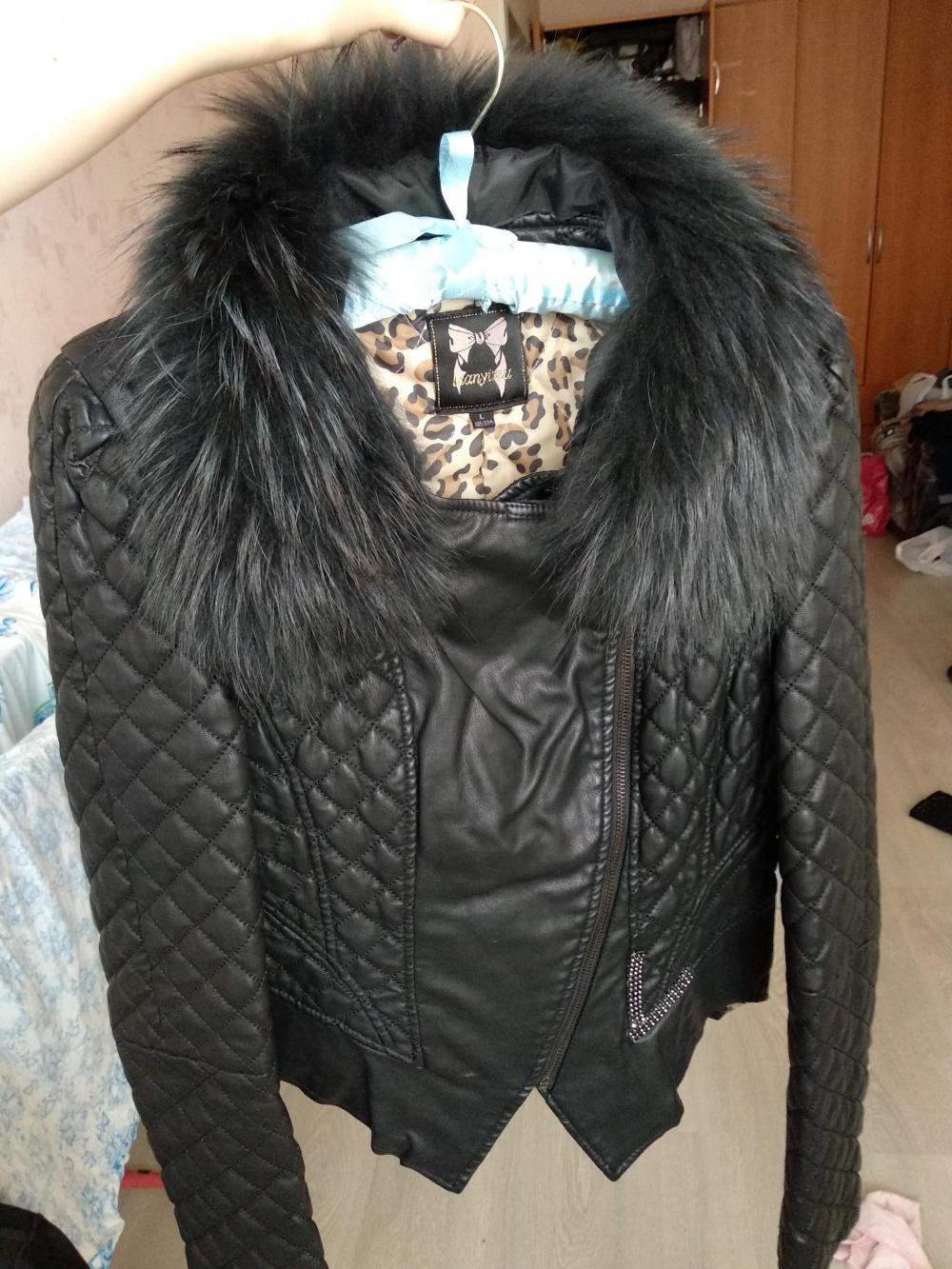 Стёганая куртка с мехом воротником 42-44(s) lianyixiu