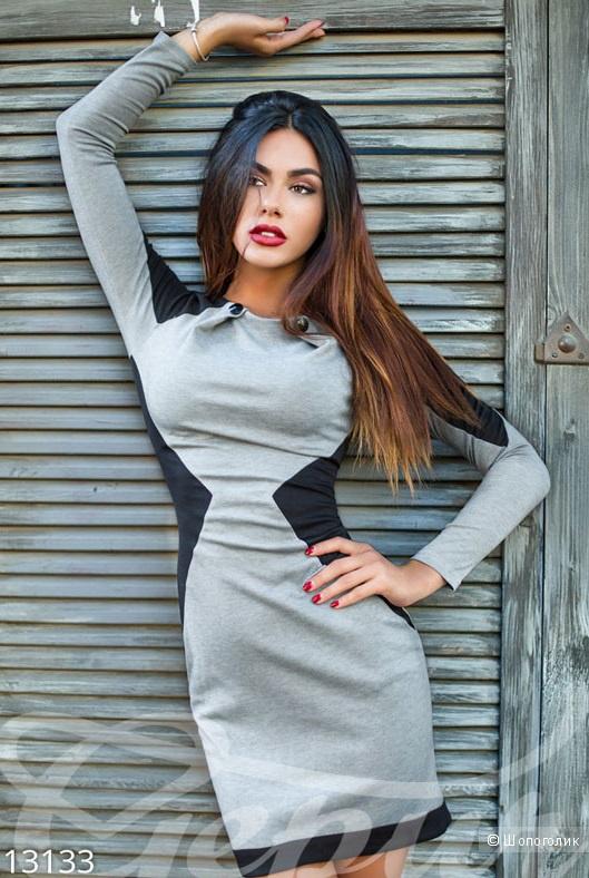 Контрастное женственное платье . Размеры 42.44.46