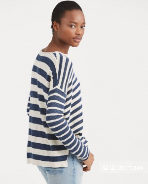 Джемпер RALPH LAUREN Striped Linen-Blend Sweater, S-L (оверсайз)