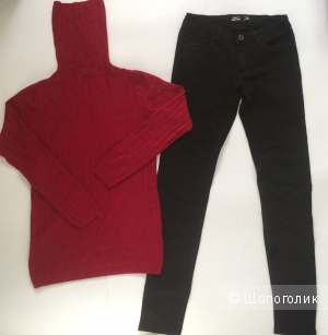 Комплект джинсы amisu и свитер водолазка no name