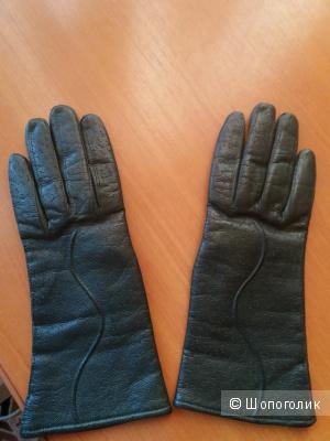 Перчатки женские кожаные no name, размер 7