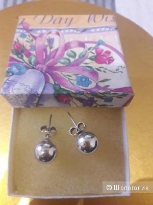 Серебряные серьги-шарики в стиле Диор