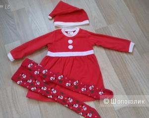 Комплект платье, шапка и колготки 1.5-2 года