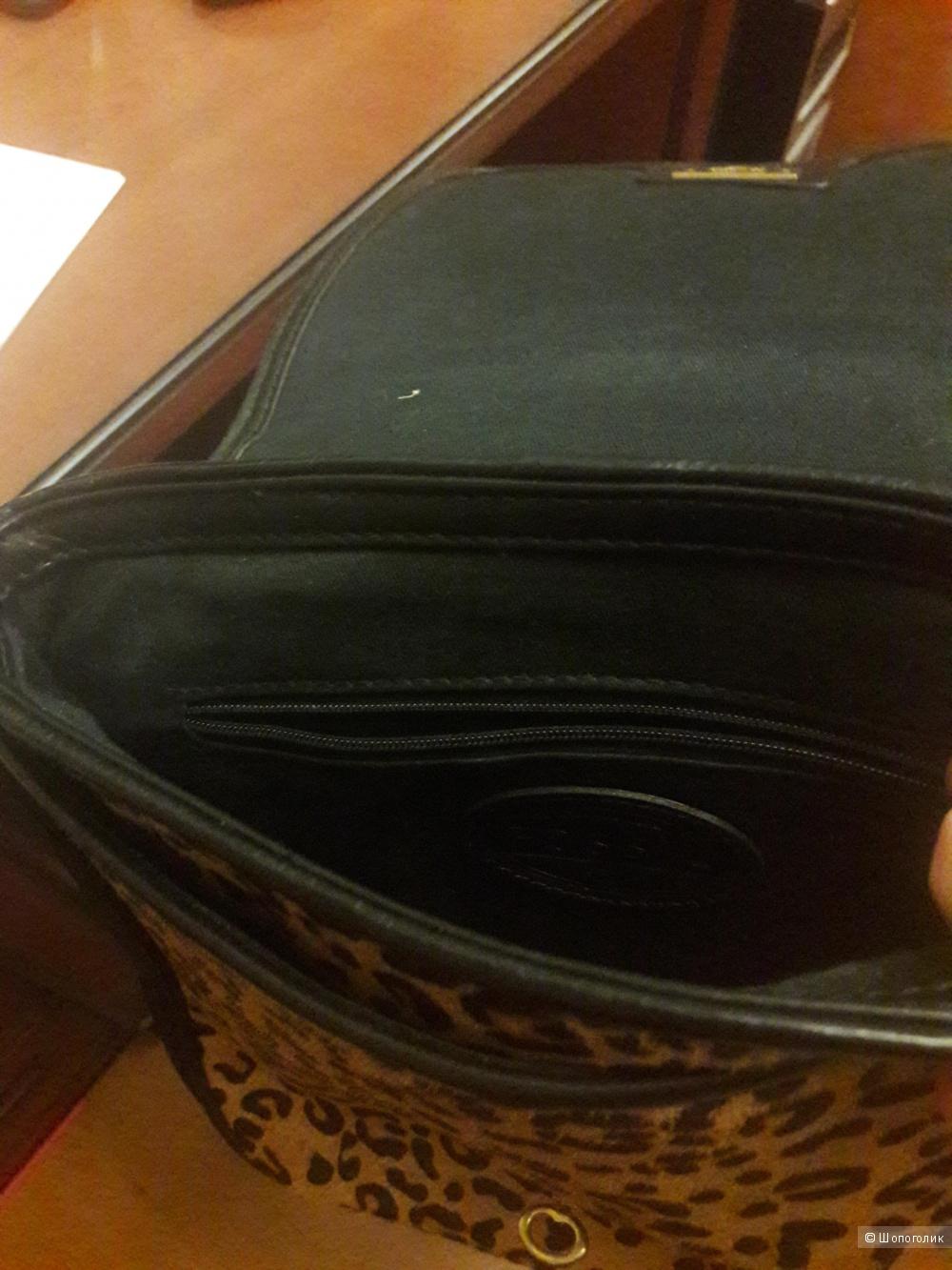 Кожаная сумка с мехом пони Fossil