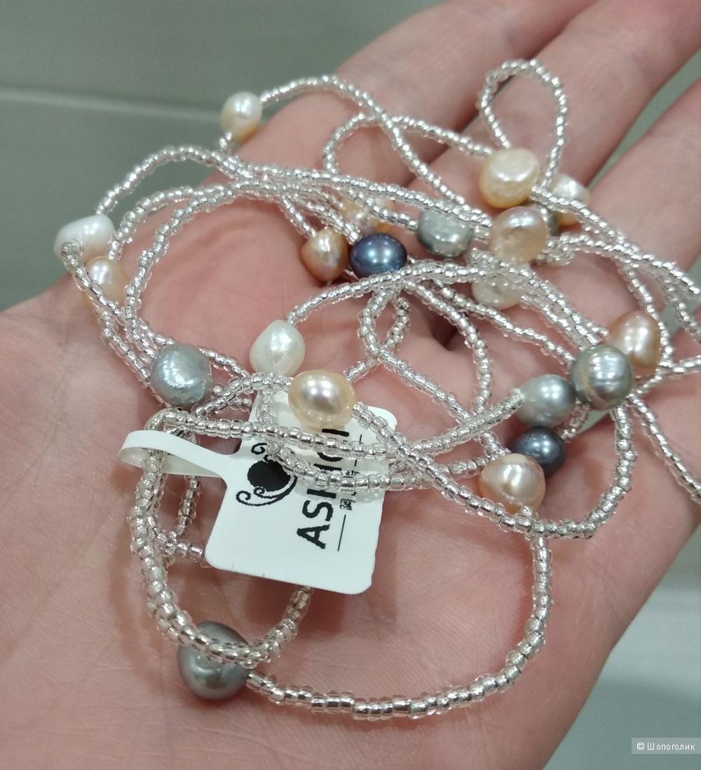 Колье-браслет 2 в 1, пресноводный тайский жемчуг, бисер, серебро 925 (длина 120 см)