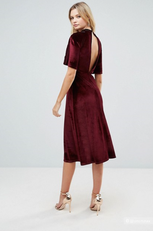 Бархатное платье-кимоно ASOS. Размер 42-44.