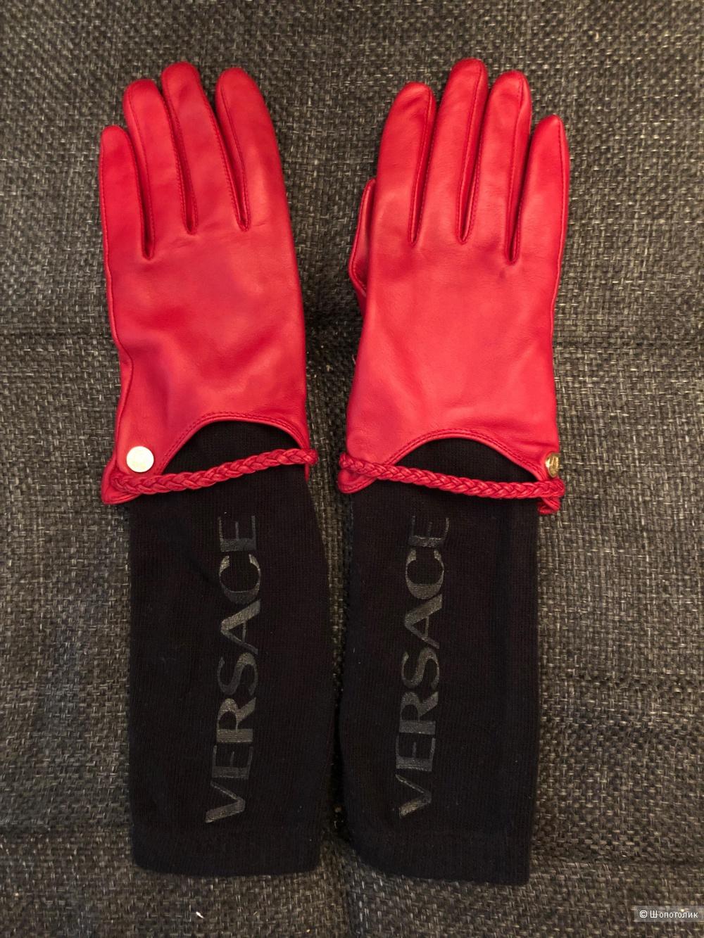 Кожаные перчатки  Versace. размер 7,5 L