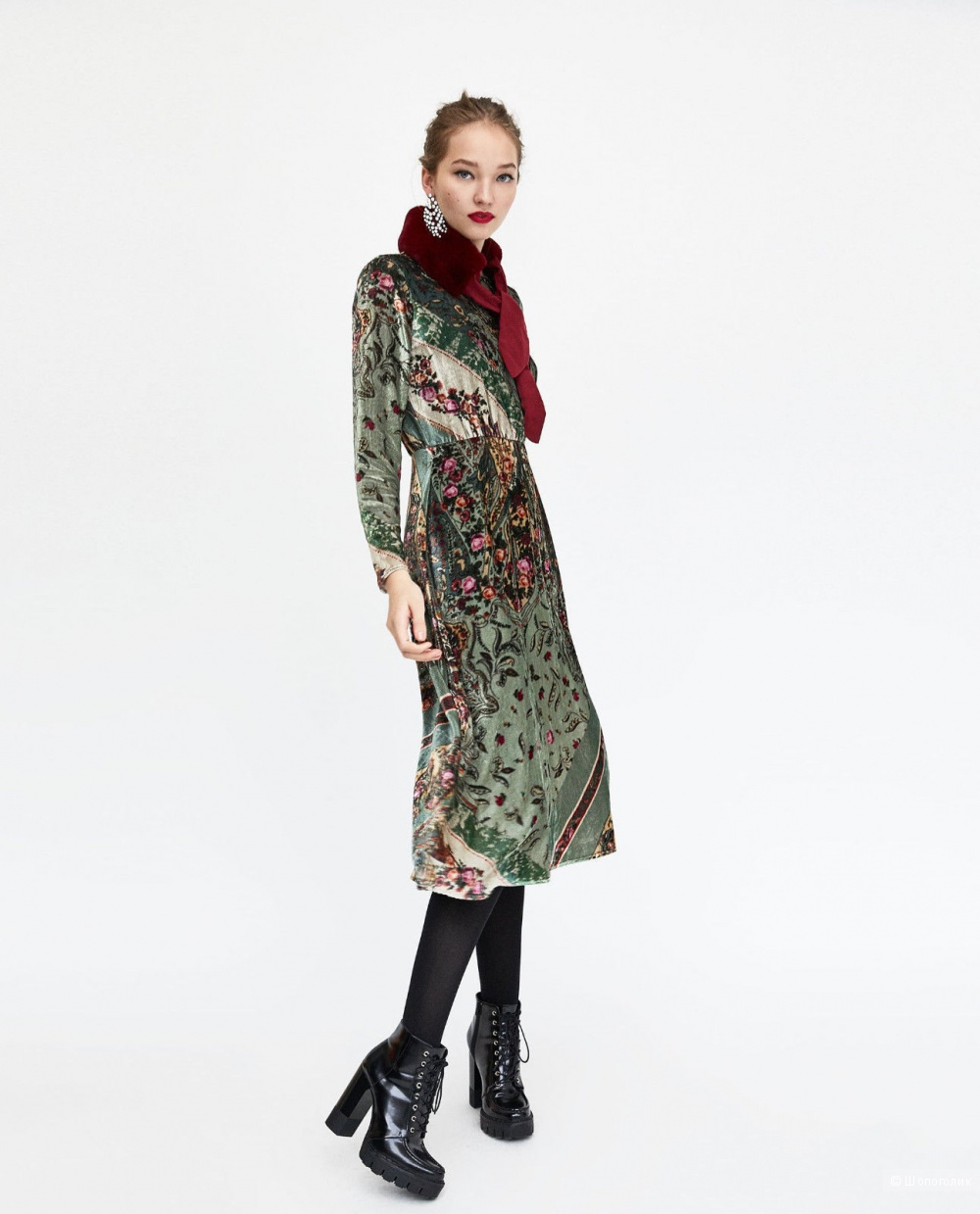 Бархатное платье ZARA, размер S