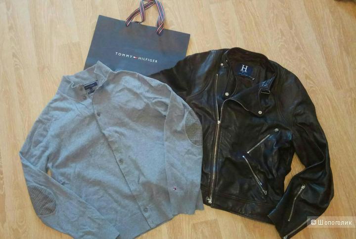 Tommy Hilfiger куртка кожа и кардиган
