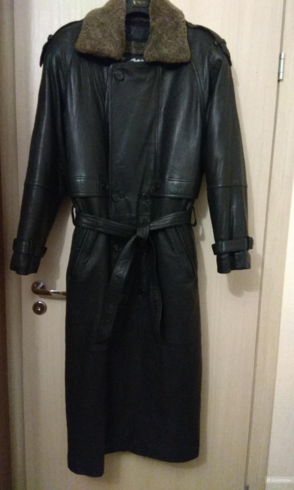 Кожаный плащ пальто SHIN SUNG KOREA размер L