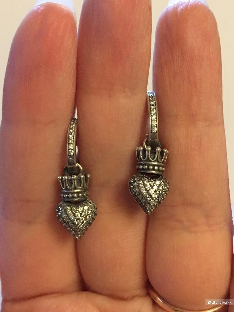 Серебряные серьги с фианитами Санлайт