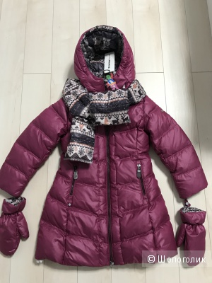 Зимний пуховик Snowimage с варежками и шарфом, размер 110