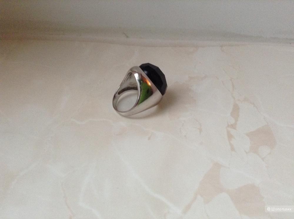 Серебряное кольцо-перстень  Sunlght с ониксом, 17,5 размер