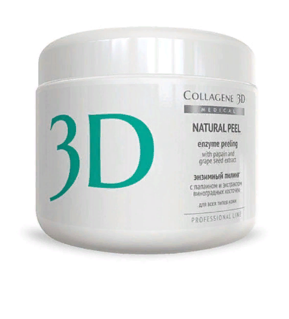 Пилинг ферментативный Natural peel с папаином и винограда 150 г, Medical Collagene 3D.