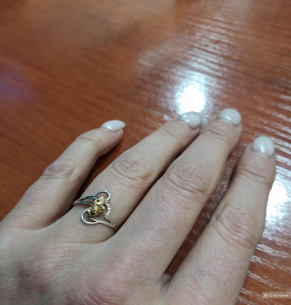 "Кольцо ""Эстелина"" Rare Gold 999, размер 17,5"