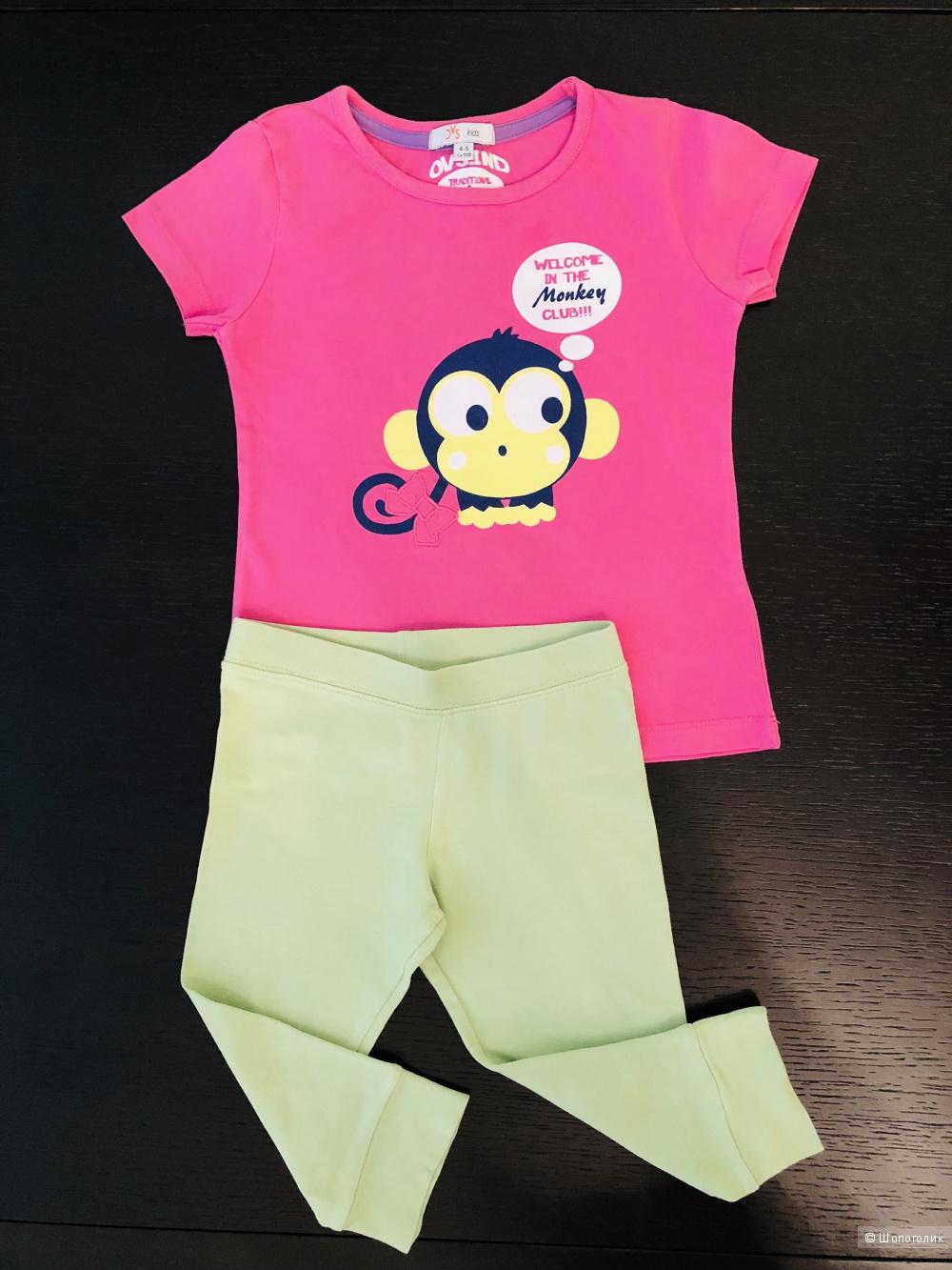 Сет: футболка Ovs kids 4-5 лет и лосины Blukids, 4г