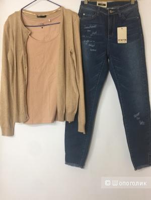 Сет джинсы Ostin размер 27, свитер - кардиган Oodji размер Л и топ Oodji