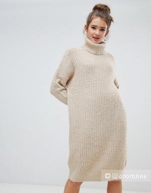 Тёплое бежевое  платье-кокон Only, S/M