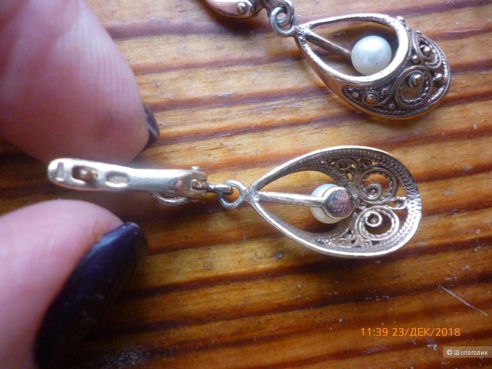 Позолоченные серьги из серебра 925 пробы
