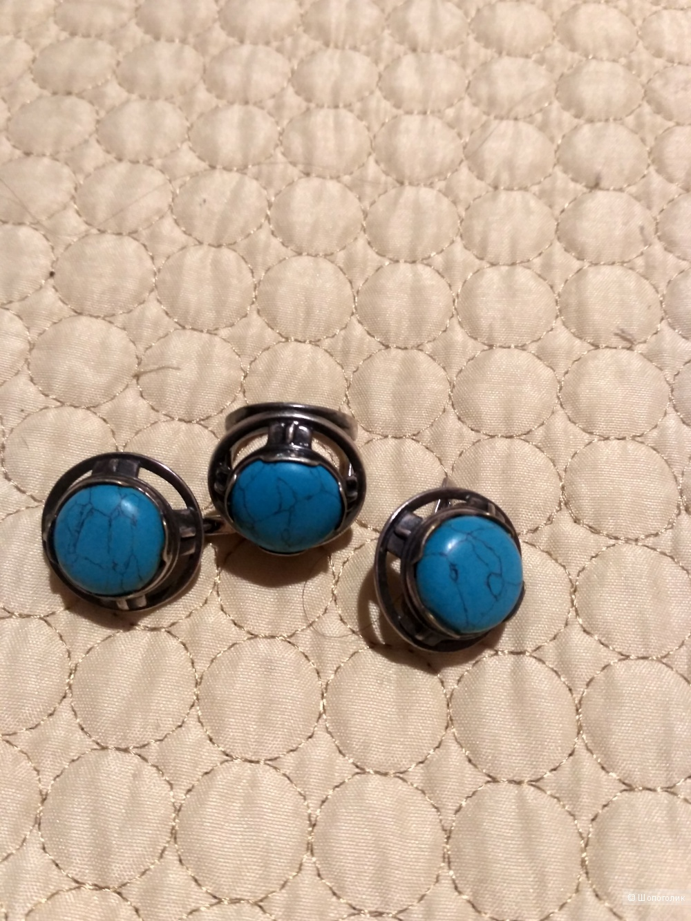 Комплект серьги и кольцо серебро 925 16.5-17 вставка бирюза