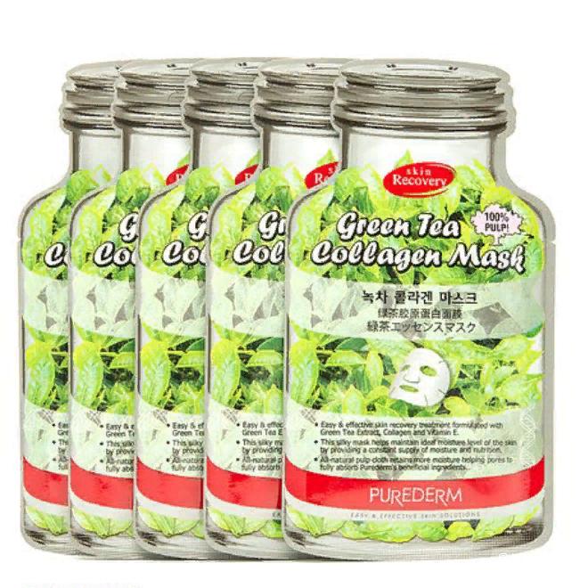 Маска Коллагеновая с экстрактом зеленого чая Набор из 4 шт., Purederm