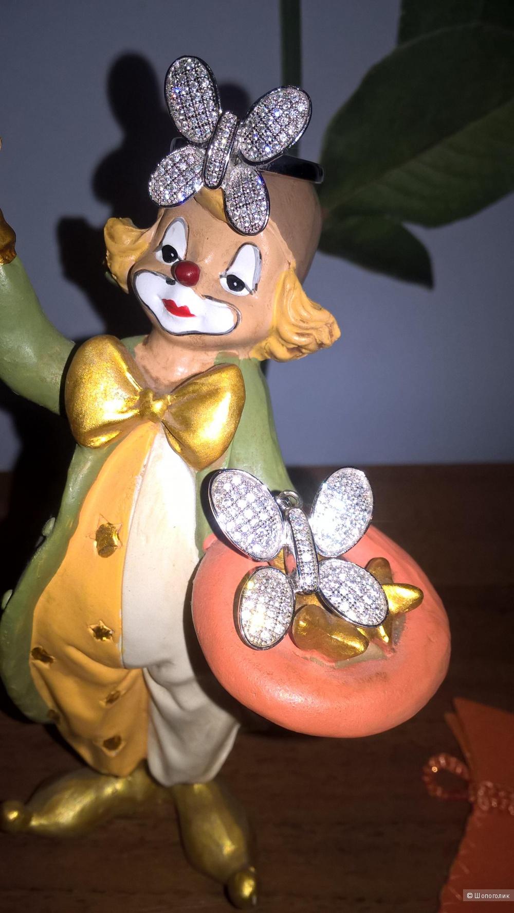 "Комплект ""Бабочки"" из серебра 925 проба"