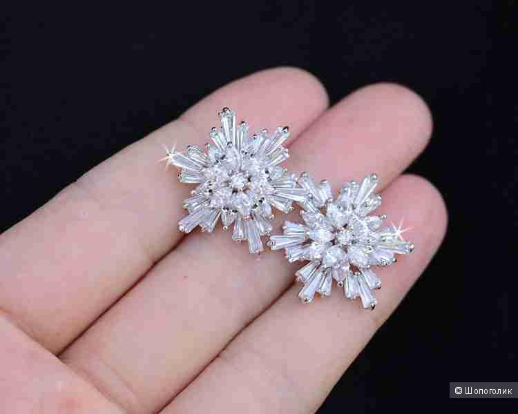 Серебряные серьги Снежинки ювелирные