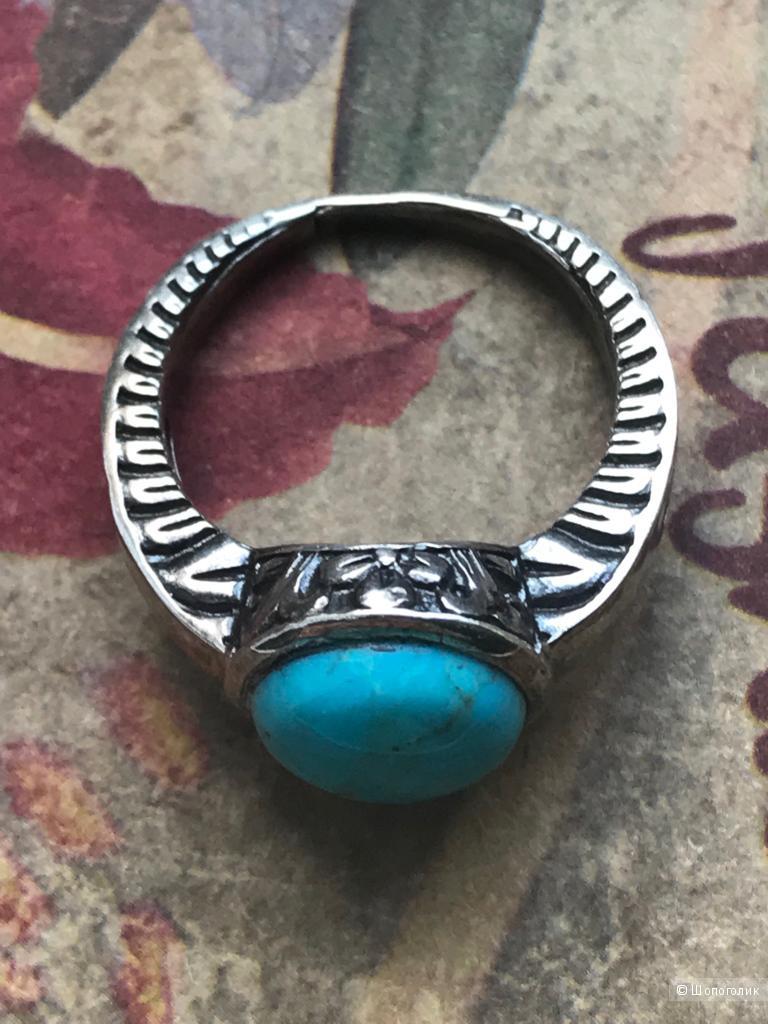 Кольцо из серебра с бирюзой, размер 17.