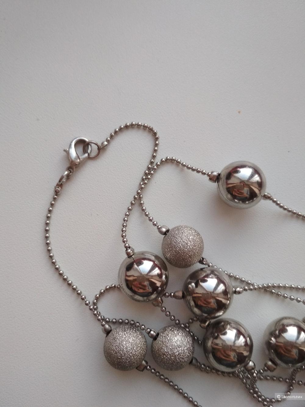 Комплект бусы, серьги, кольцо серебро 925 пробы