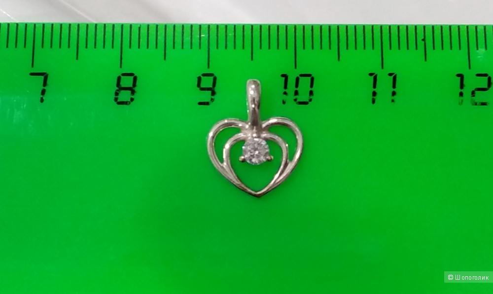 Подвеска-кулон с фианитом, Линии любви, серебро 925, one size