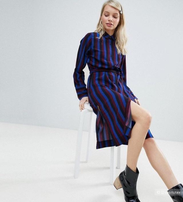 Платье рубашка в полоску размер М