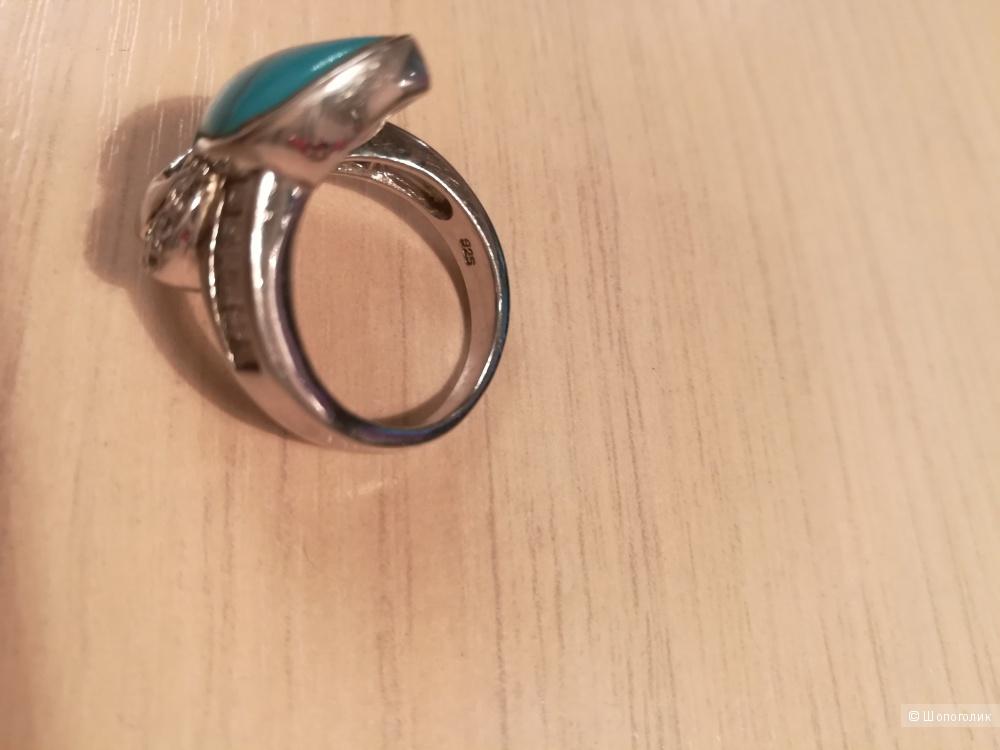 Серебряное кольцо с бирюзой и фианитами