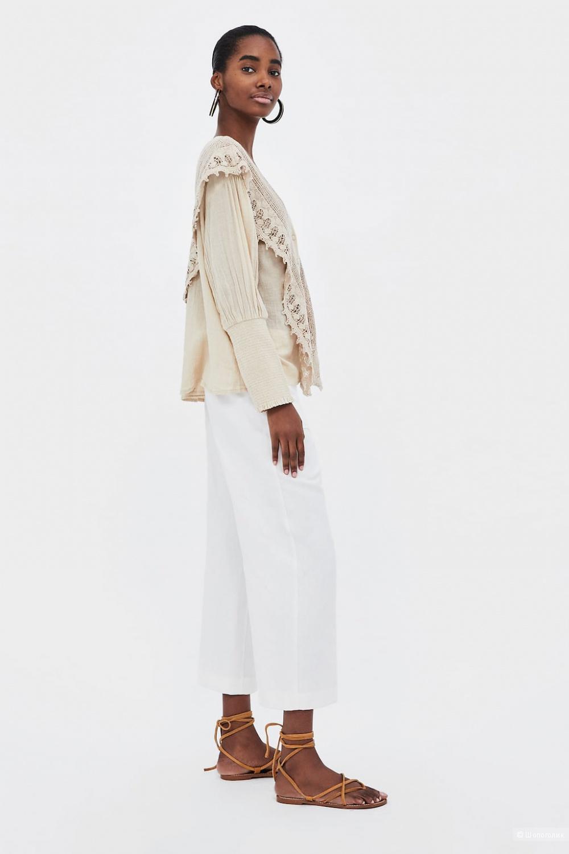 Блуза с кружевом кроше ZARA, размер М-L