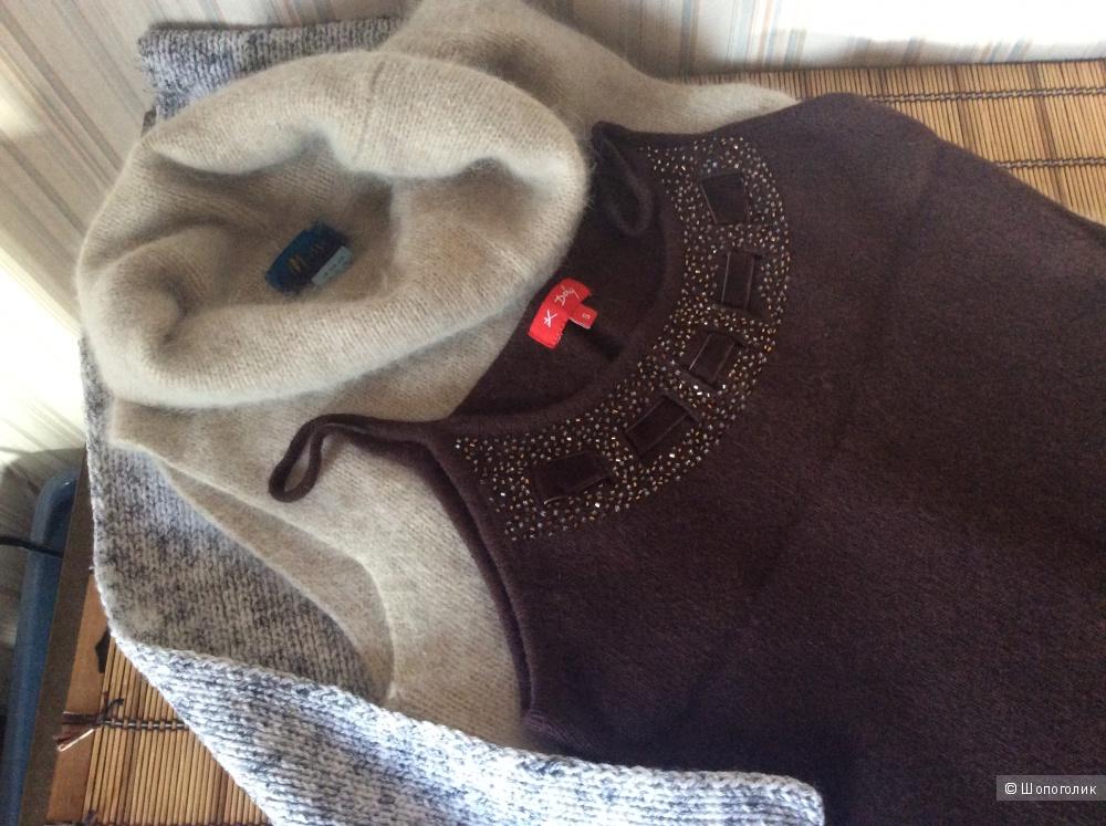 Сет из двух ангорских безрукавок, 44/46, Англия, шарф в подарок