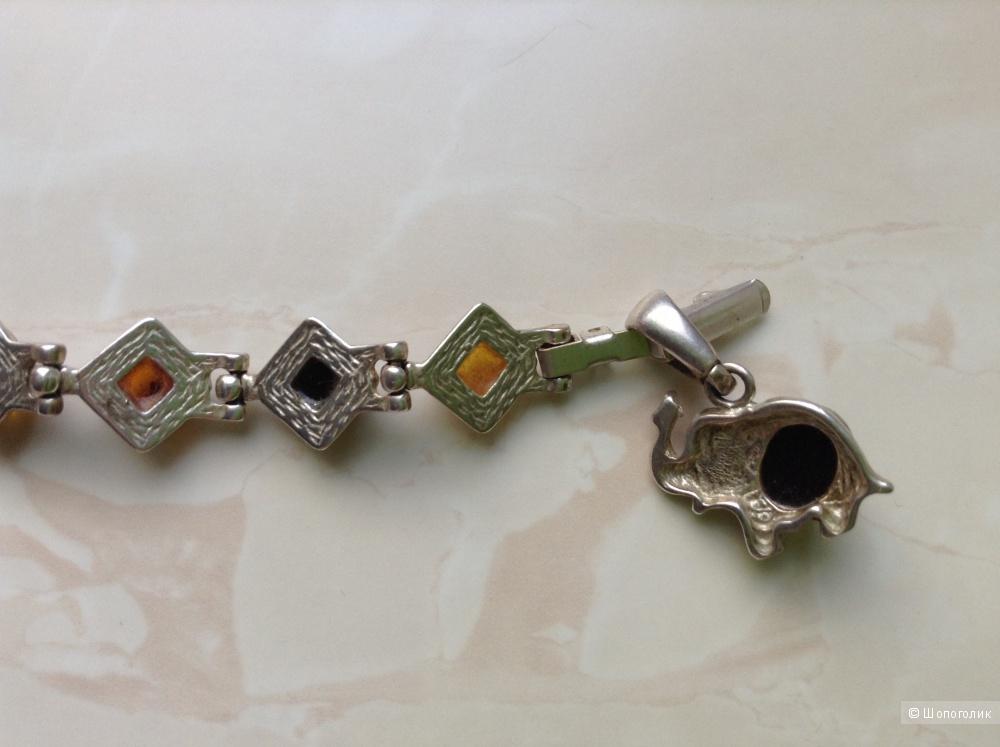 Браслет с янтарём и подвеской, размер 19