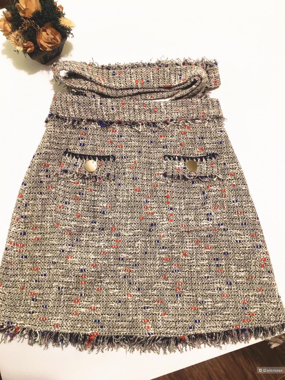 Мини-юбка из твида ZARA, размер XS