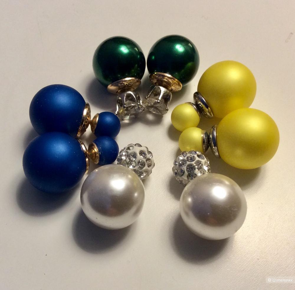 Сет из 4 пар серёжек-гвоздиков «Двойные шарики»