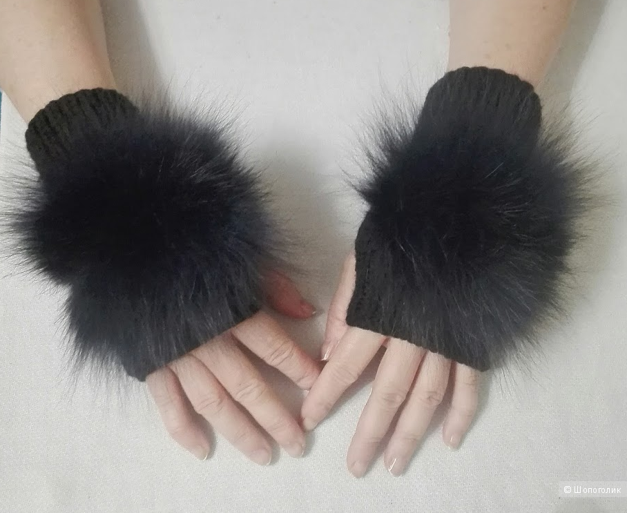 Шапка и митенки-перчатки no name . 56-62 см обхват