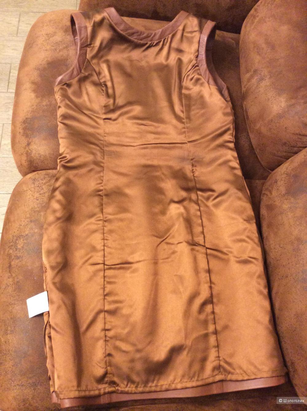 Кожаное платье-футляр Laura Clement р.48-50