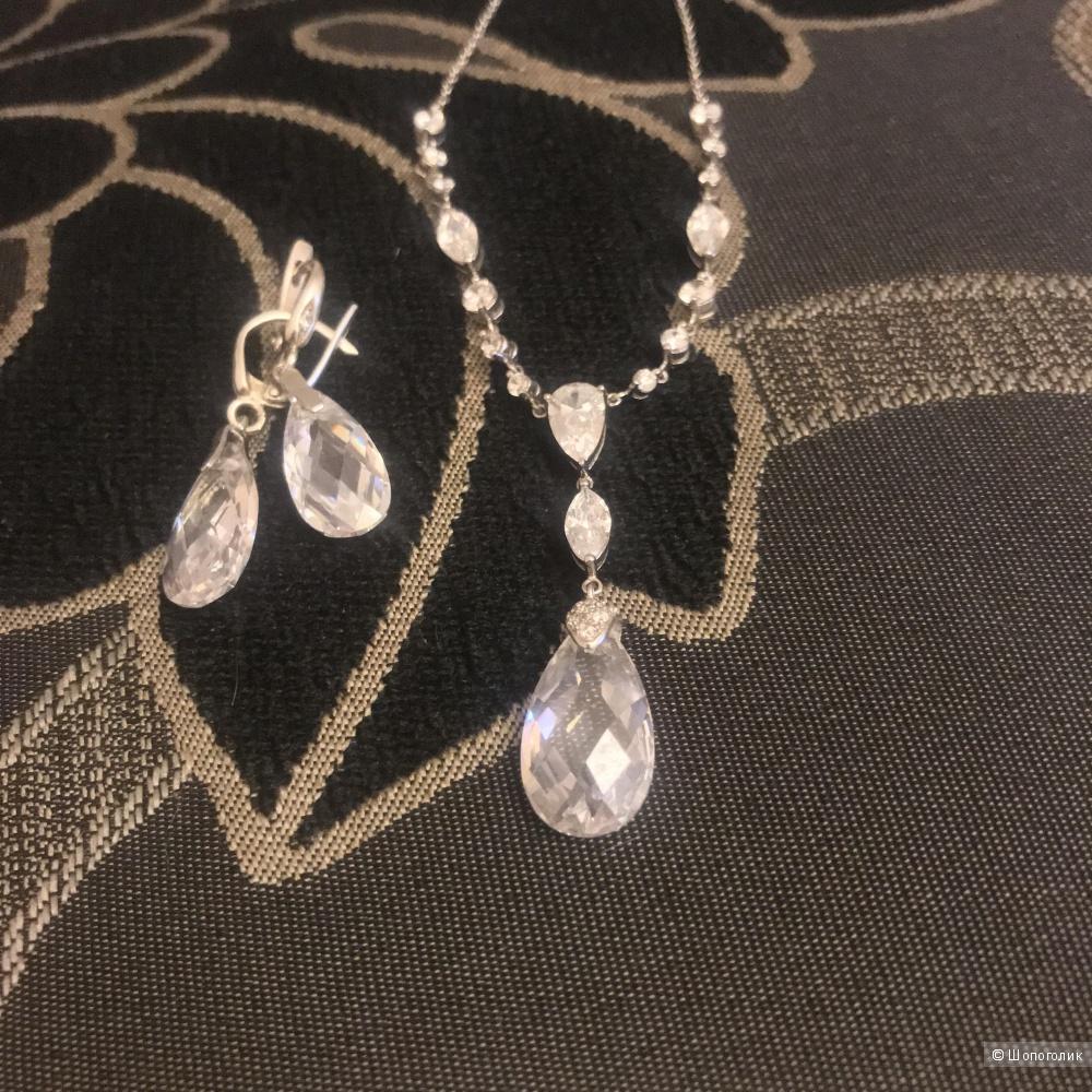 Комплект колье и серьги серебро
