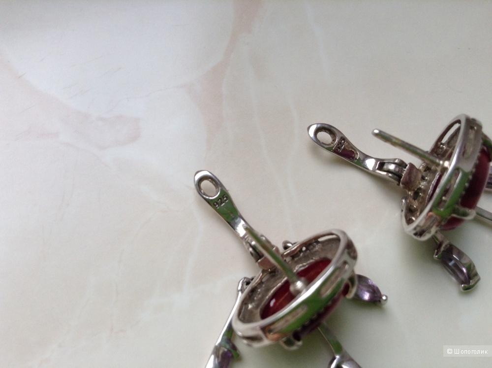 Серебряные серьги с тигровым (бычьим)  глазом