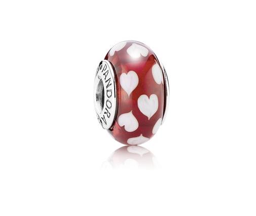 """Pandora Шарм """"Красные стеклянные сердечки"""""""