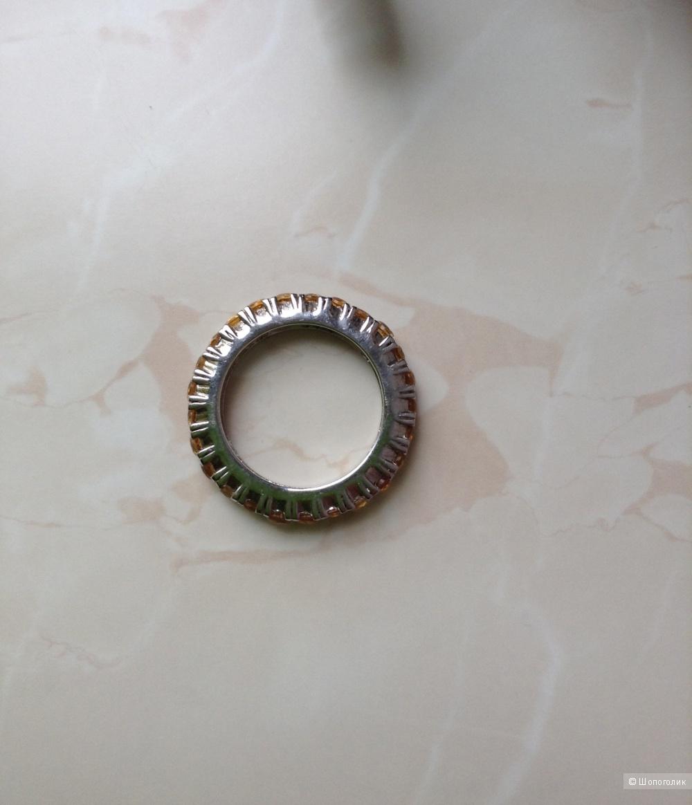 Серебряное кольцо с цитринами, 19 размер