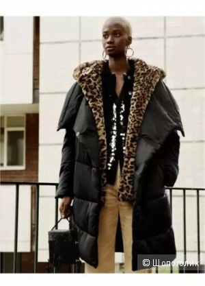 Стеганое пальто- пуховик одеяло  ZARA, размер S-M